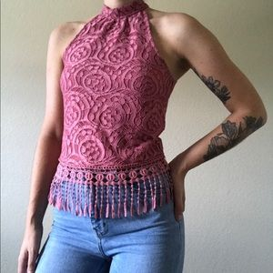 Rue 21 Pink Lace High Neck Fringe Tank Top